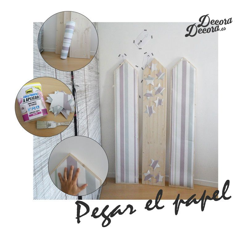 Decorar un biombo con papel de pared.